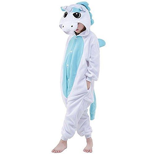 Pyjamas Kinder Kostüm Jumpsuit Tier Schlafanzug Cosplay Karneval Fasching,Blau,XL: für Höhe 125-134 cm