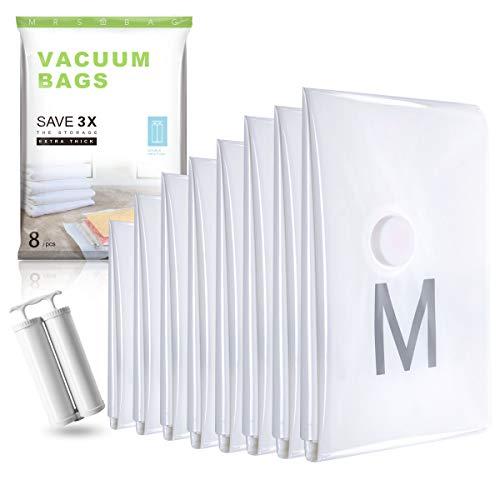 Starke Vakuumbeutel Set aus 8 (2*Jumbo+ 4*Extragroß+ 2*Klein) Vakuumier Beutel Kleidung mit DOPPELTE Handpumpe für Bettdecken, Reise, Kissen, Vorhänge - EXTRA DICK 100 MIKRON