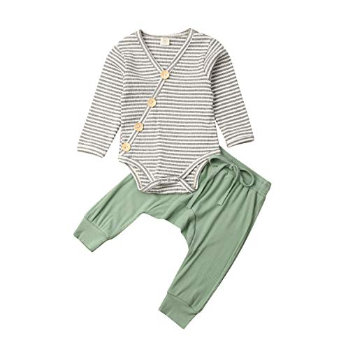 JRPONY Baby Unisex Pajamas Long Sleeve Top with Pants Set 2 Piece Outfit Cotton Winter Clothing Set (B-Green, 3-6Months)