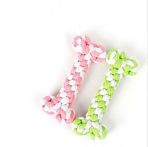 Pet Toys Supplies Baumwollseil Chew Knot Hundeknochen Durable Geflochtenes Seil (15cm,Zufällige Farbe)