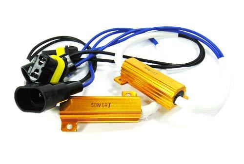 Lot de 2 ampoules LED 9006 HB4 9005 HB3 9145 pour phares diurnes antibrouillard Canbus sans erreur Résistance de charge Décodeur Adaptateur faisceau de câblage