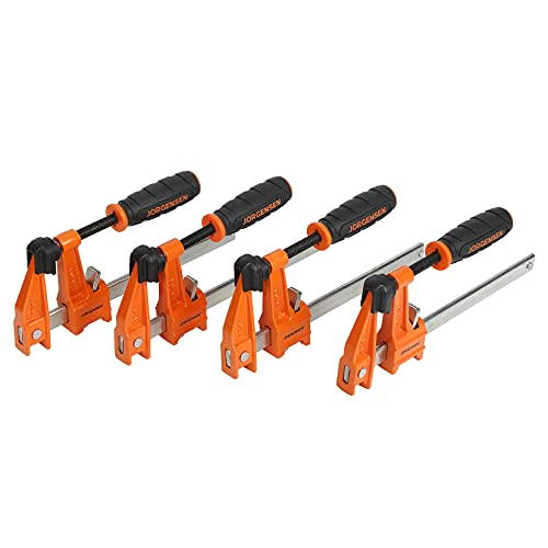 Jorgensen 6 inch Bar Clamp Set, 4 Pack Steel F Clamp Light Duty, 300lbs Load Limited, for Woodworking, Metalworking, DIY