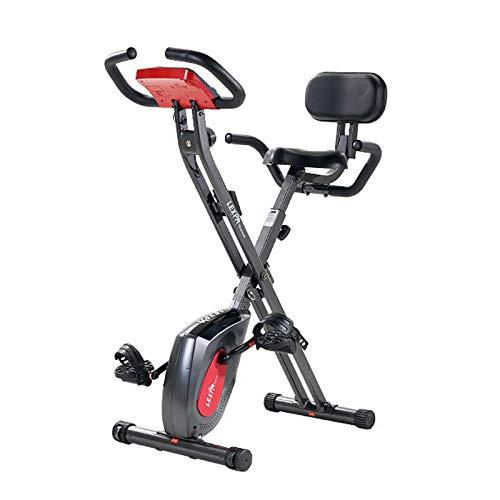 TriGold Plegable Bicicleta De Ejercicio,Bicicleta Magnética Vertical con Monitor LCD,Interior Bicicleta Bicicleta para El Entrenamiento Cardiovascular En Casa-Negro