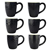 Amazon Brand - UMI Tazas de cerámica negras con asa y diseños diferentes, ideales para café, té y leche con cereales, 400 ml (juego de 6)