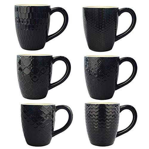 Amazon Brand - Umi 400ml Trinkbecher Keramik 6er-Set Unterschiedliche Muster Schwarze Tasse mit Griff für Kaffee Tee Kakao Müsli