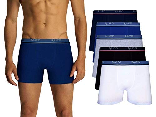 Kit Com 10 Cuecas Boxer Lupo Algodão Box Masculina (3 Pretas - 3 Cinzas - 2 Azuis - 2 Marinho, G)