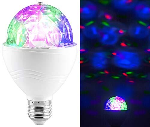 Lunartec Drehende Lampe: Rotierende Disco-Leuchte mit RGB-Farbeffekten, 3 W, E27 (Partylampe)