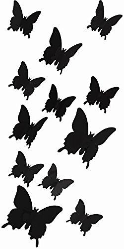Oblique-Unique Schmetterlinge in 3D Wandsticker mit Klebepunkten Wandtattoos - Farbe (Schwarz)
