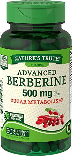 Nature's Truth Berberine 500mg | 60 Capsules | Vegetarian, Non-GMO, & Gluten Free Supplement