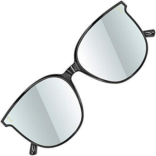 ATTCL Damen Sonnenbrille rund verspiegelt TR90 Rahme HD Nylonlinse Ultra Leicht JD222 Black+silver
