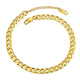 Mens Anklet Gold Plated Anklet 6mm Resizable Cuban Link Ankle Chain for Women