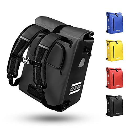 Fahrradtasche für Gepäckträger 3in1 Geeignet als Gepäckträgertasche, Rucksack und Umhängetasche 100{9f5d0ce52c33ad707ef5e1fea607d0e0b78f11be6dbd891c1682e7969192ceec} Wasserdicht 25L Fahrradtaschen mit 4 Reflektoren für Pendeln, Einkaufen, Radtour