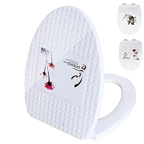 Tapa WC,Asiento de Inodoro de Cierre Suave Ovalado Blanco Tapa de Inodoro de Baño con Bisagra Ajustable de Acero Inoxidable para Una Fácil Limpieza,Diseño de Apertura Exclusivo ( Color : Dandelion )