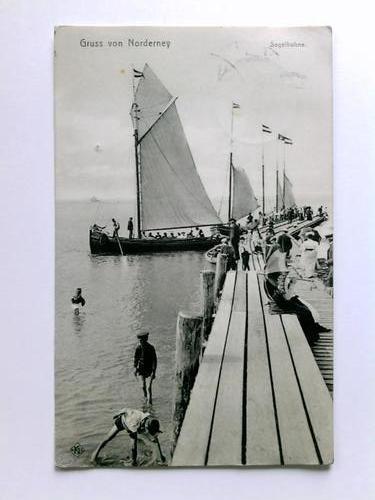 Postkarte: Gruss von Norderney - Segelbuhne
