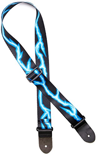 "Perri's Leathers Ltd. Polyester Guitar Strap, 2"" Wide Blue Lightning Bolt Polyester, Double Sided Design, Adjustable Length, (LPCP-46) Black/Blue, Made in Canada"
