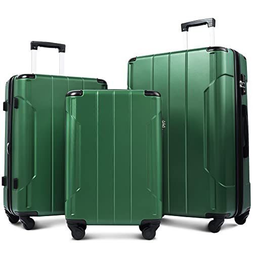 Merax Luggage Sets with TSA Locks, 3 Piece Lightweight Expandable Luggage with Reinforced Corner 20inch 24inch 28inch (Blackish Green)