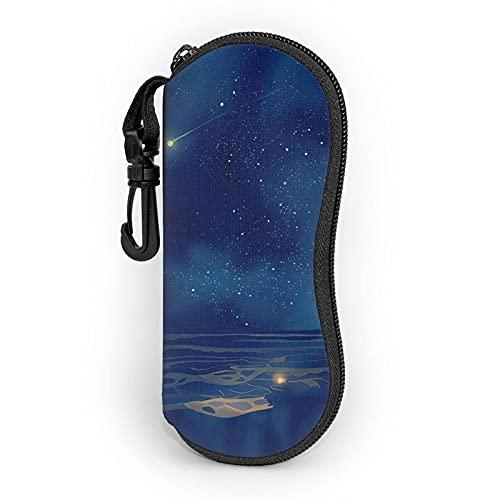Gafas de sol de neopreno ultra ligero con cremallera bolsa de gafas de viaje portátil bolsa de gafas con clip para cinturón para hombres y mujeres, Color1, Talla única,