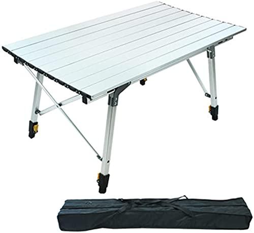 MQJ Vikbart campingbord, utomhus bekvämt fällbart campingbord skarvning camping bord belysning lyft aluminiumlegering E rullbord, en
