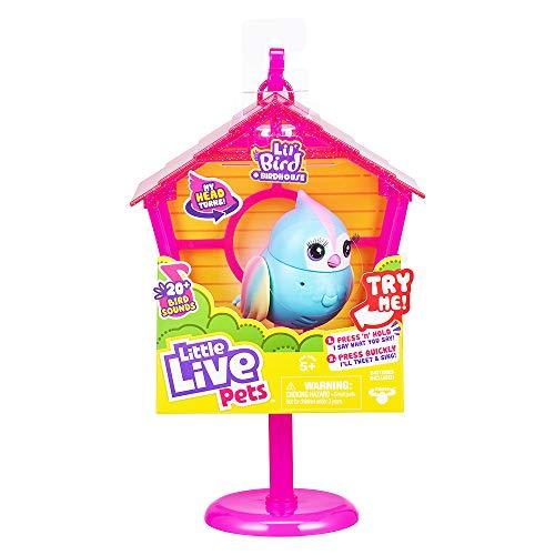 Little Live Pets Lil' Bird & Pajarera – Rainbow Tweets – Bird de Little Live Pets & Pajarera – Casita para pájaros Que se Pueden conectar Mediante Ganchos, Cabeza más de 20 pajareras