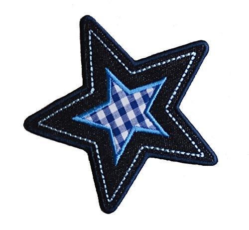 TrickyBoo 2 opstrijkbare ster 9 x 9 cm Sheriff-ster 9 x 10 cm set patch applicaties voor het repareren van kinderkleding met design Zürich Zwitserland voor Duitsland en Oostenrijk