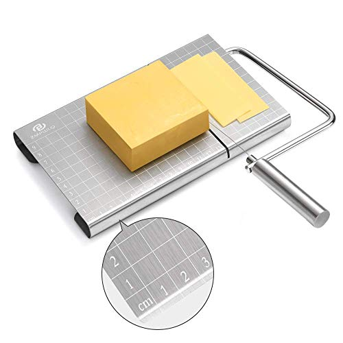 Stainless Steel Cheese Slicer with Accurate Size Scale, Wire Cheese Slicer for Cheese Butter, Equipped with 4 Replaceable Cheese Slicer Wires