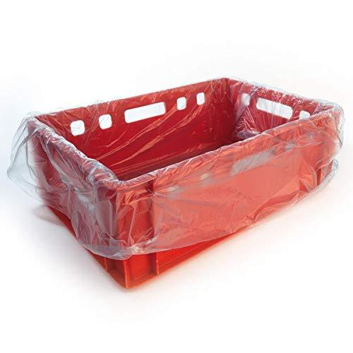 Folie für Fleischkiste, Fleischkistensack, Einlegesäcke, Auskleidungssack HDPE für E2-Kiste, ca. 10 my, 65 x 64 cm, blau-transparent