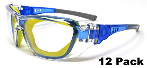 Edz Kidz 12 Pack of Childrens Safety Glasses. Kids protective spectacles. Including a strap to turn them into Goggles. Ideal for school and NERF (12)