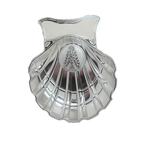 Concha Bautismal de la Virgen del Rocío en metal plateado, incluida s