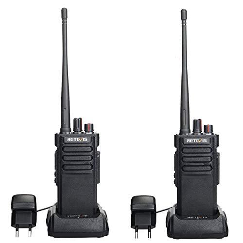 Retevis RT29 Walkie Talkie, Impermeable IP67, VHF 16 Canales, Potencia Alta Alcance de hasta 8KM, VOX Alarma de Emergencia, Walkie Talkie Recargable (Negro)