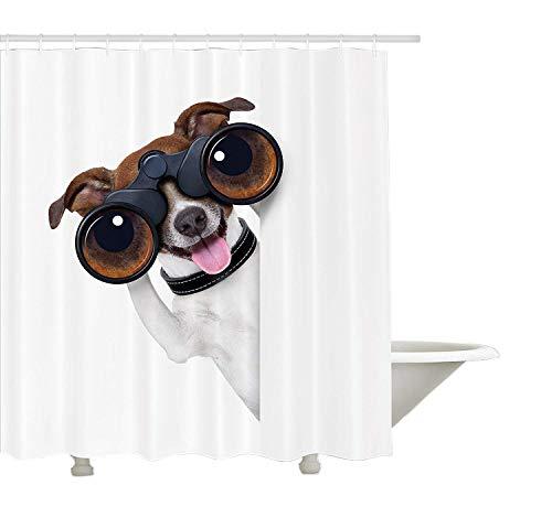 Yeuss lustige Duschvorhang von, Fernglas Hund suchen suchen Wissenschaft Welpen Karriere Vision Erfolg Comic Bild, Stoff Badezimmer Dekor Set mit Haken, braun weiß 72 'x 80'