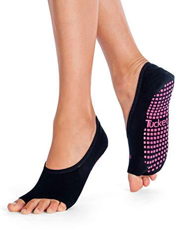 Tucketts Calcetines Yoga Pilates Antideslizante Deporte Mujer, Colchoneta Deporte Accesorios Yoga, Calcetín Dedos para Ballet, Barra Fitness, Danza, Running (Gris)