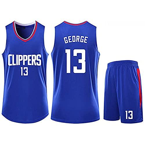 WAIY Jersey De Baloncesto Set Pǎul Géorge # 13 Los Angeles Clippers, Camiseta De Baloncesto para Hombre Tejido Elástico Profesional No Se Desvanece Limpieza Repetible Blue-XL