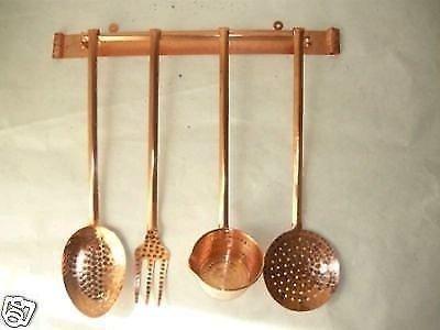 arterameferro Set mestoli decorativi da cucina in rame 4 pezzi con supporto a parete