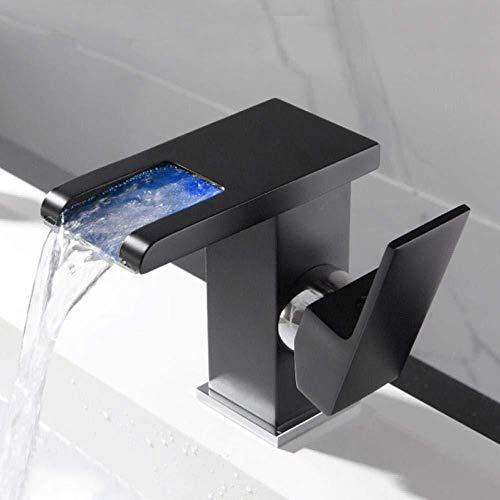 Taps Led waterval badkamer wastafel kraan enkele handvat koud warm water mixer wastafel tik RGB kleur verandering aangedreven door waterstroom