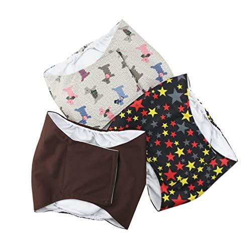 Hanyi 3 Stück Waschbare & Wiederverwendbare Hundewindeln Weich Atmungsaktiv Physiologische Hosen Bauchband für Männliche Hunde (M(Taillenumfang:34-44cm))