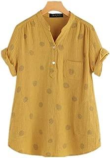 TT WARE Polka Dot Short Sleeve Irregular Blouse For Women-Yellow-5XL