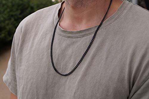 Schwarze Glieder-Halskette für Herren aus Edelstahl - Massive Gun-Metal Kette Glieder-Kette 60 cm - Made by Nami Handmade Herrenkette - Herren-Schmuck Männer (Kette, Gun-Metall)