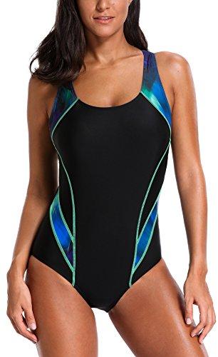 belamo Sport Resistant one Piece Swimsuit for Women Racerback Training Swimwear Black-Green