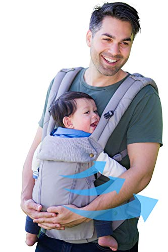 ルミエール 6WAY 抱っこ紐 アメリカで大人気 温度調節パネルで年中快適 - 前向き おんぶ 授乳可能 - 疲れにくい