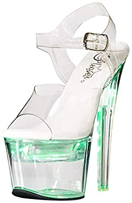 Pleaser Women's FLASHDANCE-708 Sandal, clr/clr, 8 M US