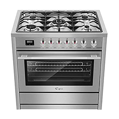 """Empava 36"""" Freestanding Gas Range with 3.9 cu. ft. Single Oven, 5 Sealed Burner Cooktop, Convection Fan, Cast Iron Grates EMPV-36XGR01, Stainless Steel"""