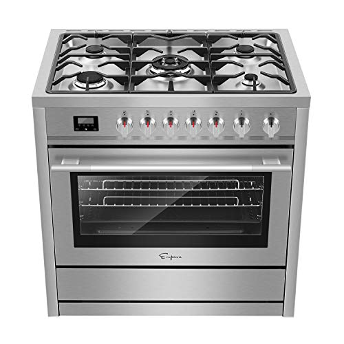 Empava 36' Freestanding Gas Range with 3.9 cu. ft. Single Oven, 5 Sealed Burner Cooktop, Convection Fan, Cast Iron Grates EMPV-36XGR01, Stainless Steel