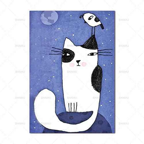 Kein Rahmen Wandkunst Wieder Cartoon Tier Katze Dekor Poster Leinwand ng Leinwand ng Wandkunst Kunst printsre Wohnkultur 60x90cm