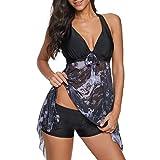 WUAI Womens Plus Size Tankini Swimsuits Mesh Printed Halter Tank Top with Boyshort Two Piece Bathing Suits Swimdress(Black,XXX-Large)