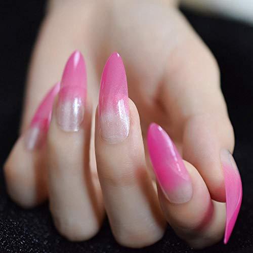 TJJF Hot Pink Stiletto Français Faux Ongles Conseils Demi Transparent Shimmer Lady Artificielle Nail Extra Long Pré-Conçu Faux S 24