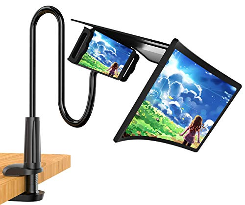 12' 3D Phone Screen Magnifier with Gooseneck Phone Holder, HD Curve Screen Amplifier Enlarger, Adjustable Clamp Stand, Movie,Video and Gaming HD Screen Magnifying, Compatible All Smartphones