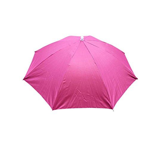 URSING Draussen Faltbar Sonnenschirm Hut Kopfbedeckung Kappe Kopf Hut Regenschirm Hut Neuheit nach Kostüm Hut Ladies Mens Multi Color Festival hat für Golf Angeln Camping Outdoor (Pink)