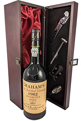 Grahams Late Bottled Vintage Port 1982 en una caja de regalo forrada de seda con cuatro accesorios de vino, 1 x 750ml