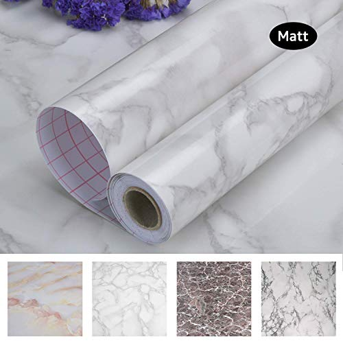 Art3d 17.7'x78.7' Marble Contact Paper Countertops - Self Adhesive Shelf Drawer Liner - Gray Decorative Contact Wallpaper - Waterproof, Peel and Stick, Easily Removable (17.71' x 78.74', Matt)