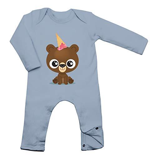 Shirt Happenz Bär Unicorn Babybody Bärchen Einhorn EIS Ice Cream Langarm Langärmliger Strampler, Farbe:Babyblau (Dusty Blue BZ13);Größe:3-6 Monate